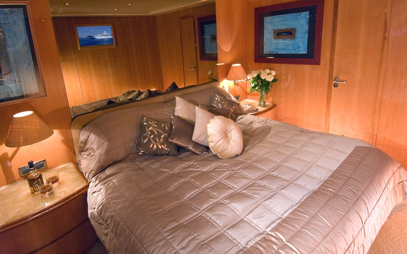 master bedroom on luxury yacht
